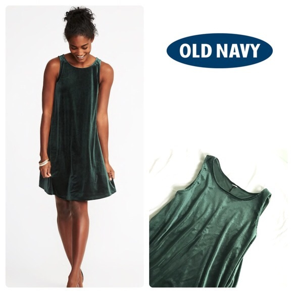 a026fd06cb39 Old Navy Dresses | Green Velvet Swing Dress | Poshmark